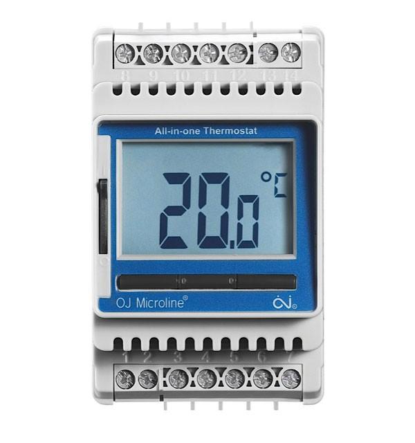 Termostatas ETN-1999 be jutiklio, 16A, DIN, LCD ekranas